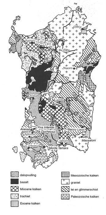 Sardinie geologisch kaartje